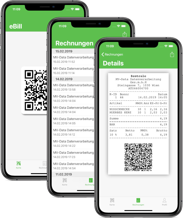 e-Bill Rechnungs-App Screenshots